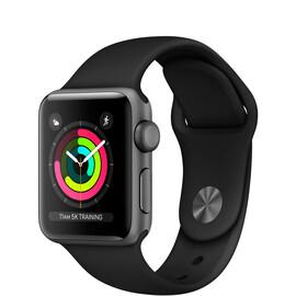 Apple Watch Series 3 (GPS) 38mm Space Gray Aluminum w. Black Sport B. - Space Gray (MQKV2), фото