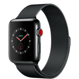 Apple Watch Series 3 (GPS + Cellular) 42mm Space Black Stainless Steel w. Space Black Milanese L. (MR1L2), фото