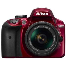 Зеркальный фотоаппарат Nikon D3400 kit (18-55mm VR) Red вид спереди