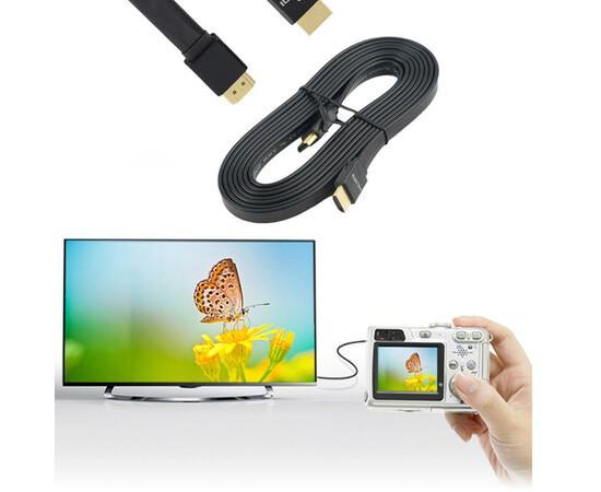 Кабель HDMI Cable flat (V1.4) HDMI/M to HDMI/M 1.5m (Black), фото , изображение 3