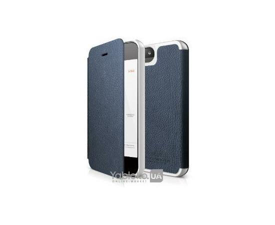 Чехол для iPhone 5/5S/SE Elago S5 Leather Flip Case (White/Blue), фото