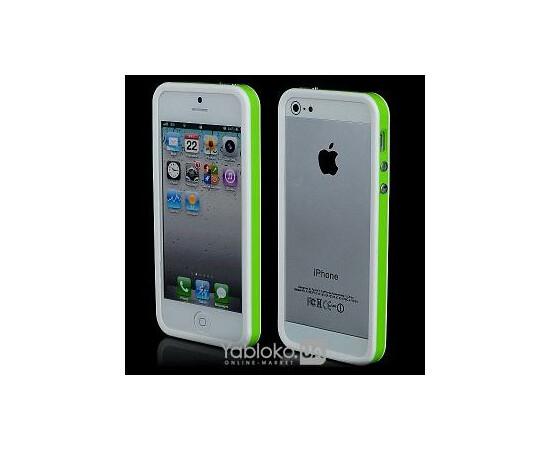 Чехол-бампер Aplove for iPhone 5 (White/Green), фото
