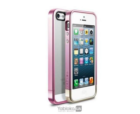 Чехол-бампер для iPhone 5/5S/SE SGP Case Linear Metal Crystal (Metal Pink) SGP09659, фото