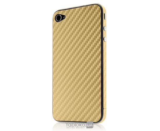 Карбоновая наклейка для  iPhone 4/4S GSW (Gold), фото