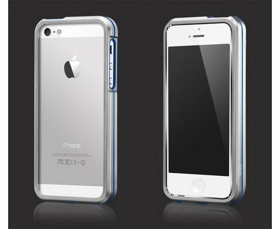 Чехол-бампер для iPhone 5/5S More Armor Metal Hybrid Ring (Aluminium/Blue), фото