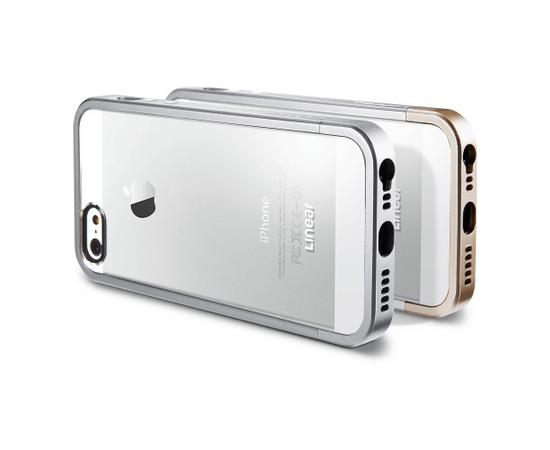 Чехол-бампер для iPhone 5/5S/SE SGP Case Linear Metal Crystal (Satin Silver) SGP10046, фото , изображение 3