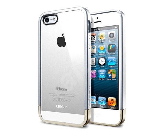 Чехол-бампер для iPhone 5/5S/SE SGP Case Linear Metal Crystal (Satin Silver) SGP10046, фото